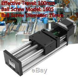 100mm Travel 1605 Ball Screw Guide Rail Sliding Table+Nema23 57 Stepper Motor
