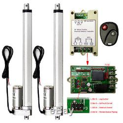 2 Dual 4mm/s 12 Stroke Length Linear Actuator DC12V 330lbs Motor+Remote Control