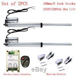2 Dual 8 Stroke 220lbs 14mm/s DC12V Linear Actuator &Wireless Motor Control Kit