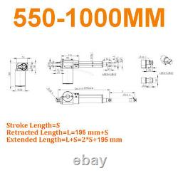 6000N 400mm 1000mm Linear Actuator Motor DC 12V Heavy Duty Mounting Brackets
