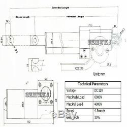 DC 12V 6000N Linear Actuator Electric Motor Controller Kit Auto Lift Door Opener