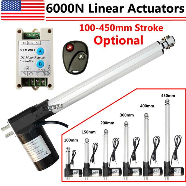 Dc 12v Linear Actuator 1320lbs With Remote Controller Electric Motor 6000n Lift Ig