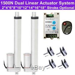 Set of 2 1500N 330lbs Linear Actuator DC12V Motor +Positive Inversion Controller