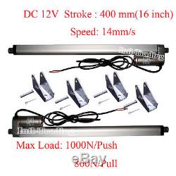Set of 2 16 14mm/s Linear Actuators With Brackets DC 12V 220 Pound Max Lift Motor