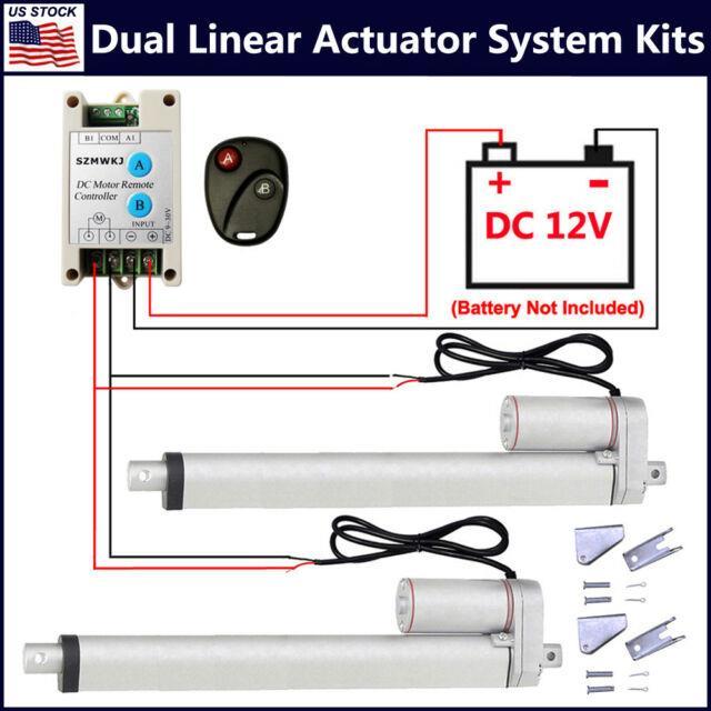 Set Of 2 Dc12v 1500n/1000n Linear Actuators +motor Controller +mounting Brackets