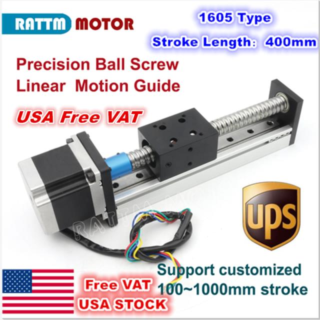 Usacbx1605 400mm Precision Linear Motion Slide Stroke Ball Screw+stepper Motor